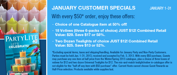 January 2013 PartyLite Customer Specials from AngieLovesCandles.com in Edmonton