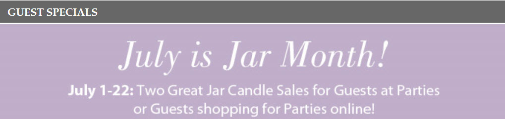 PartyLite July Candle Jar Sale